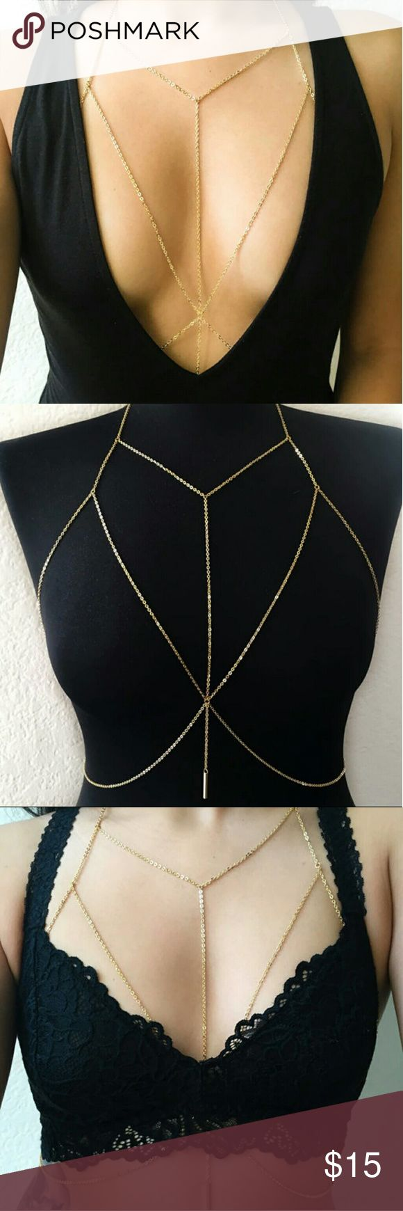 24k gold filled bodychain harness bralette Gold body chain bra Jewelry Necklaces