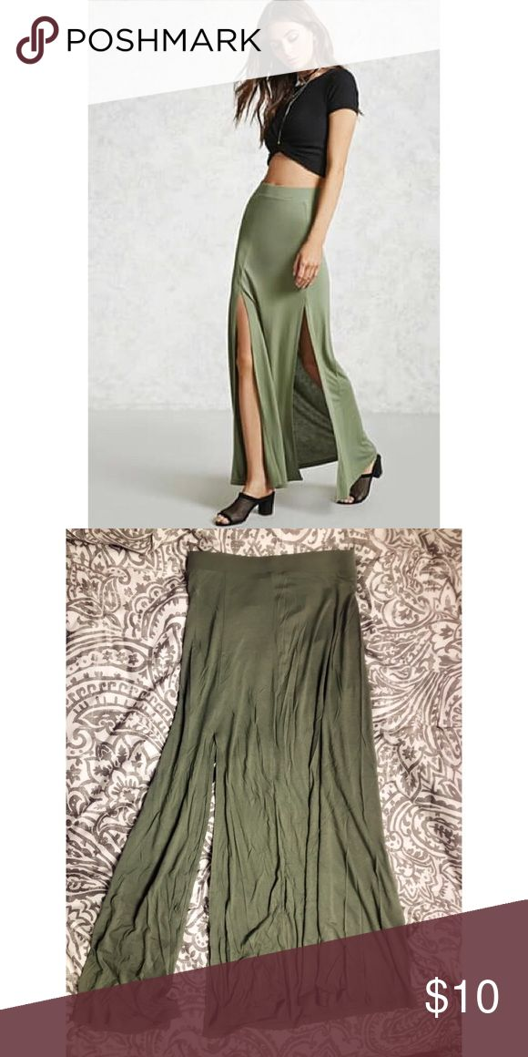 olive maxi skirt worn once, no tags, brand new condition.  comes from a smoke free/animal free home. Forever 21 Skirts Maxi