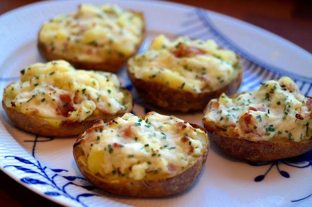 God mad og søde sager: Fyldte bagte kartofler m. bacon og purløg