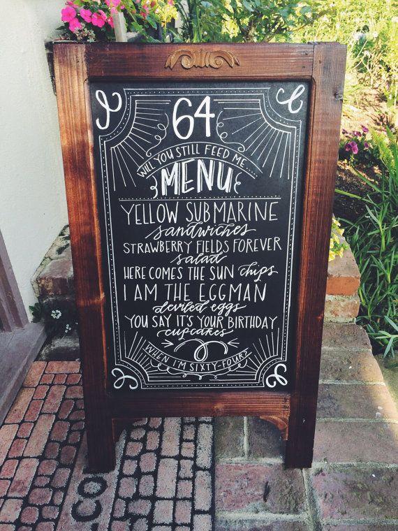 Chalkboard Easel/Wedding Chalkboard/Chalkboard with Stand/Chalklettering/Chalkboard Sign/Birthday Chalkboard/Beatles Birthday