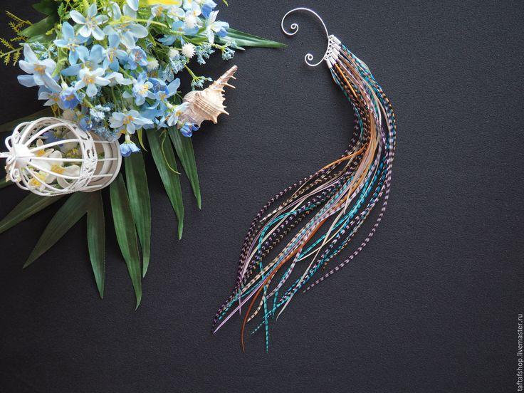 Подводный мир - бирюзовый кафф с длинными перьями в стиле бохо - перья, перо