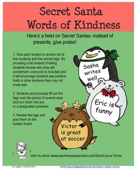 Ask your students to give anonymous words of praise. Pass out a list of five or so students and these cute animal tags to each student and have the...