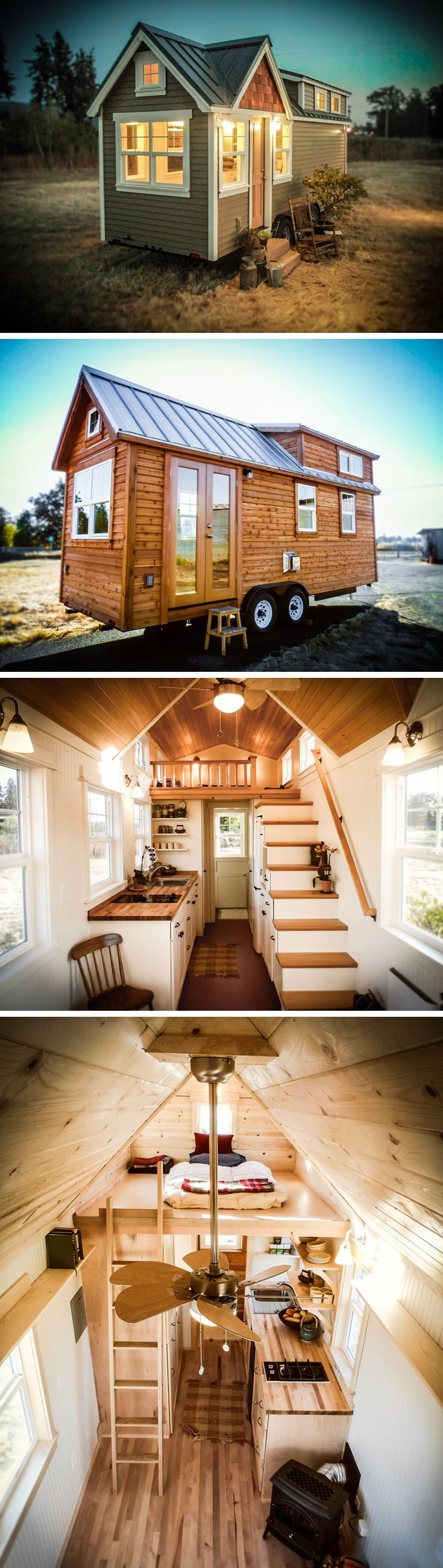 The Ynez model by Greenleaf Tiny Homes is available in 20′, 24′, or 28′ lengths, ranging from 240-304 sq.ft. They offer several interior options (ladder vs stairs, kitchenette vs extended kitchen, etc) as well as Country or Cottage exteriors. Prices start at $54,000.