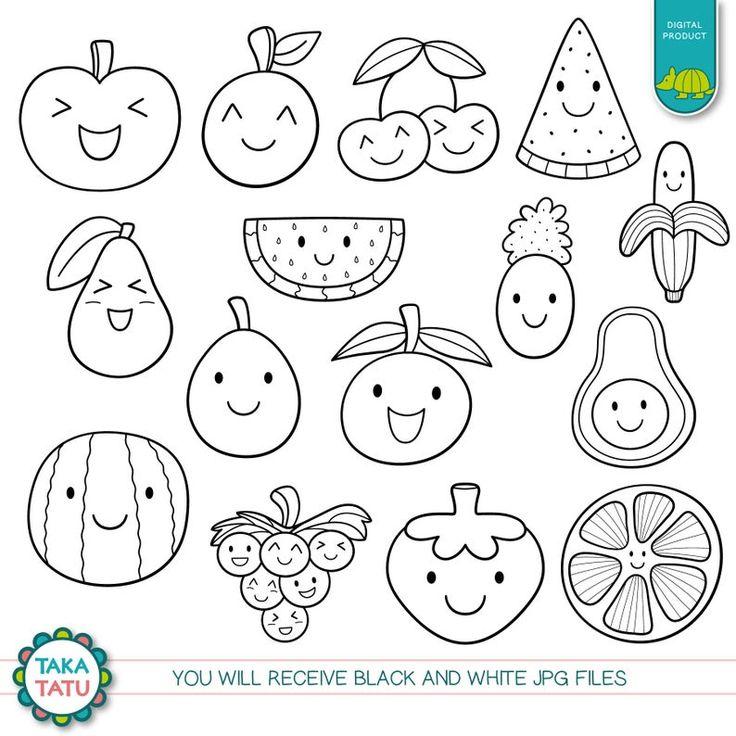 Kawaii Fruits Digital Stamp Black And White Clipart Kawaii Etsy Digital Stamps Kawaii Fruit Cute Doodles
