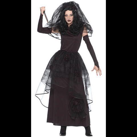 Dark Bride Black Wedding Dress Woman Lady Halloween Costume Adult 10 12 Medium
