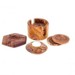 Olive Wood Set of 3 - Hexagon Ashtray, Round Tea Light Candle Holder & Round Set Drink Coasters with Holder
