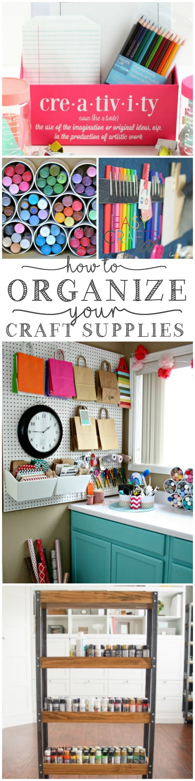 You know what I wish I had in my house? A craft room. Someday. But until then, I have a fantastic office that doubles as a craft storage space. Recently, in an attempt to organize it all a bit, I found myself in search of great craft room organization ideas and inspiration. Of course, I didn't have to go far to find some amazing ideas (thank you,
