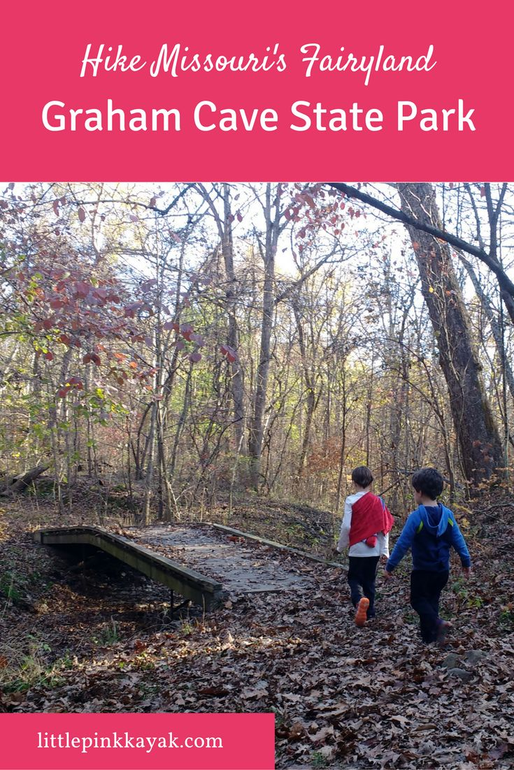 Graham Cave State Park in Missouri, USA was a fairyland of hidden spots, surprise waterfalls, with gossamer sunbeams through the trees. We loved it. http://www.littlepinkkayak.com/hike-this-missouri-fairyland-graham-cave-state-park/