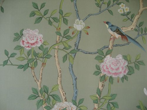 Detail of hand painted Chinese wallpaper with pheasant and tree peonies