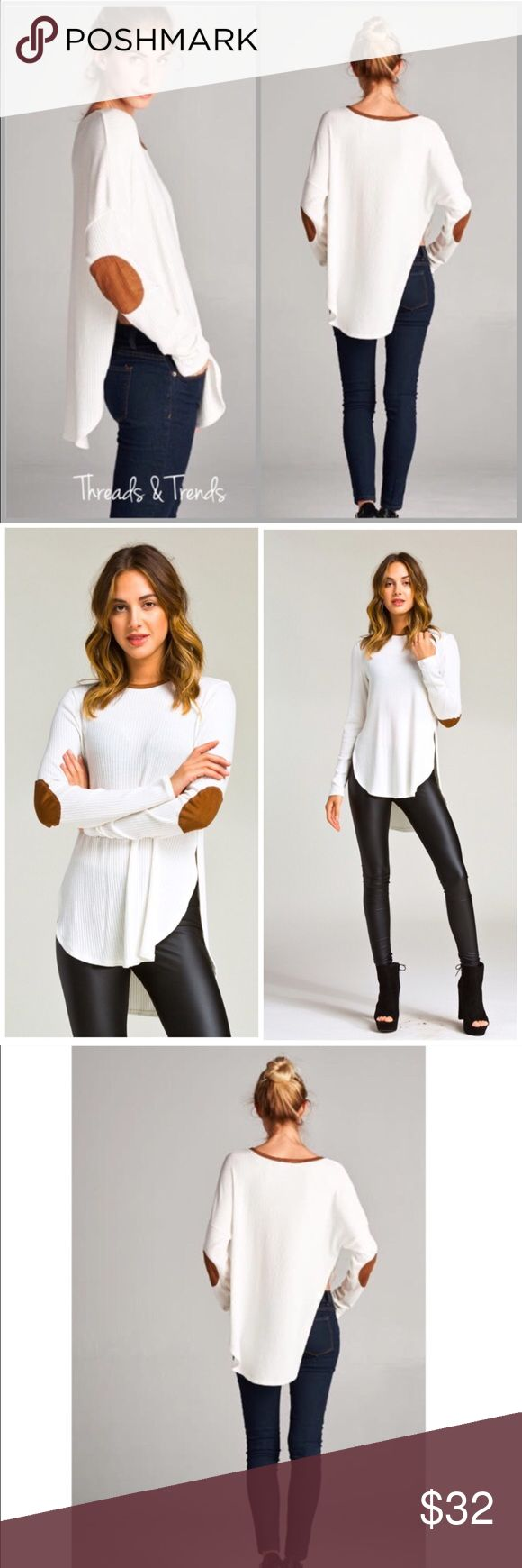 Ribbed Elbow Patch Top Ribbed Elbow Patch Top  •Loose fit  •round neck •long sleeve  •Faux Suede neckband & elbow patch's •Rounded hems with high side slits.  •Drop shoulder.  •Medium weight wide ribbed soft knit fabric •Beautifully drapes and stretches very well.  Available Sizes: S, M, L  Stylist Notes: great casual top to pair with denim or leggings. Camel leggings shown in pictures are sold separately. Bundle and Save. Marled Threads & Trends Tops