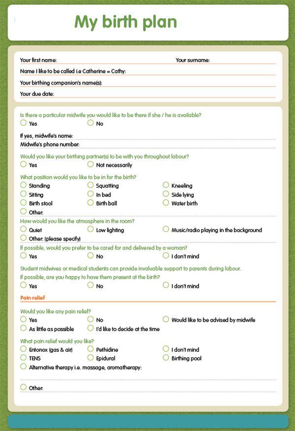 Natural Birth Plan Printable