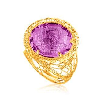 Italiensk Designad 14K Gult Guld Ring med Rund Lila Ametist www.tessard.se