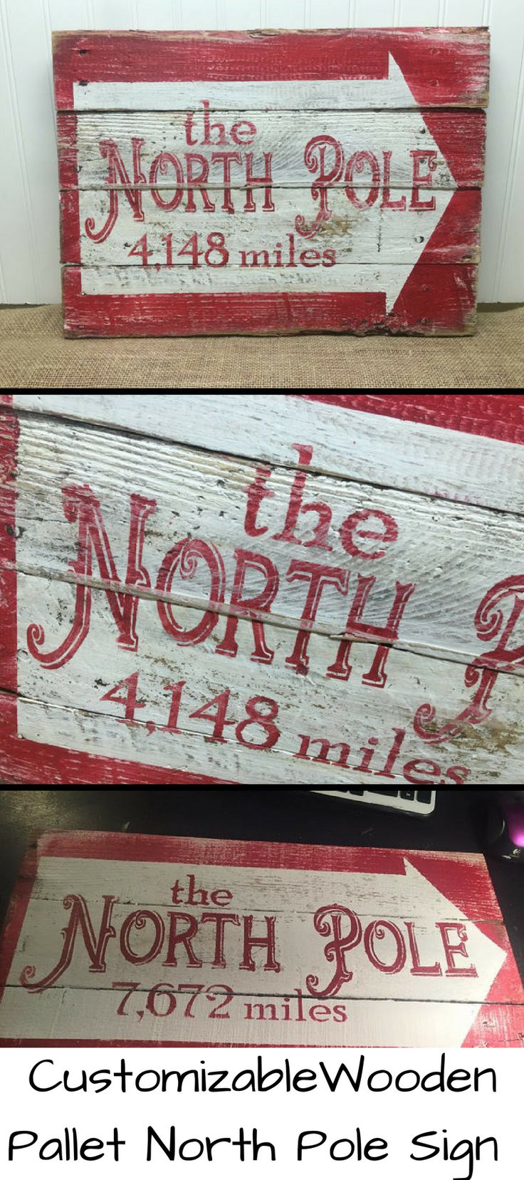 Custom made North Pole Sign Pallet Wood Inspired #santa #christmas #etsy #ad