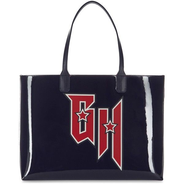 Tommy Hilfiger x Gigi Hadid patent leather tote (£100) ❤ liked on Polyvore featuring bags, handbags, tote bags, tommy hilfiger tote bag, initial tote bags, sports pouch, tote handbags and blue purse