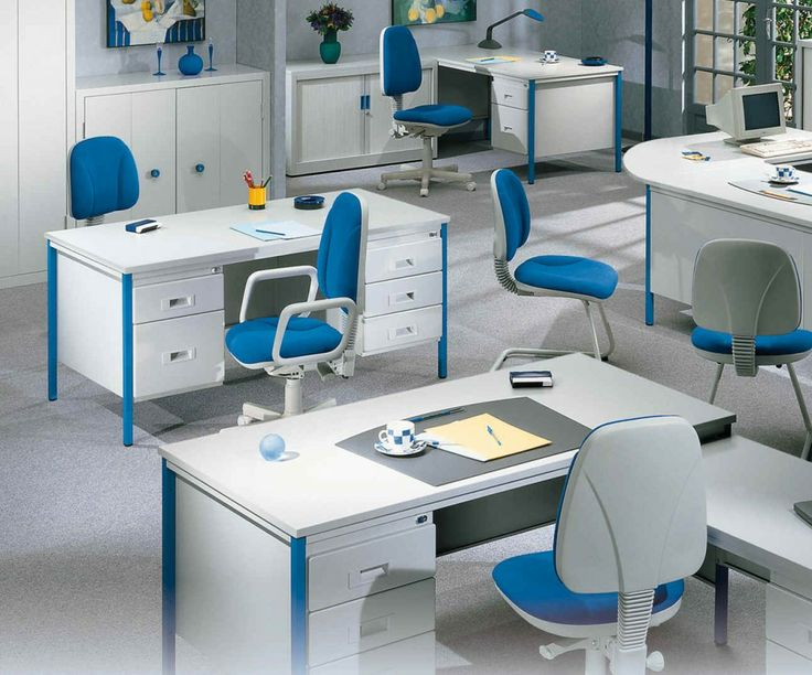 Office, Blue White Color Scheme Applied In Contemporary Office That  Completed With Simple And Stylish Office Desk And Chairs: Inspiration  Design Ideas For ...