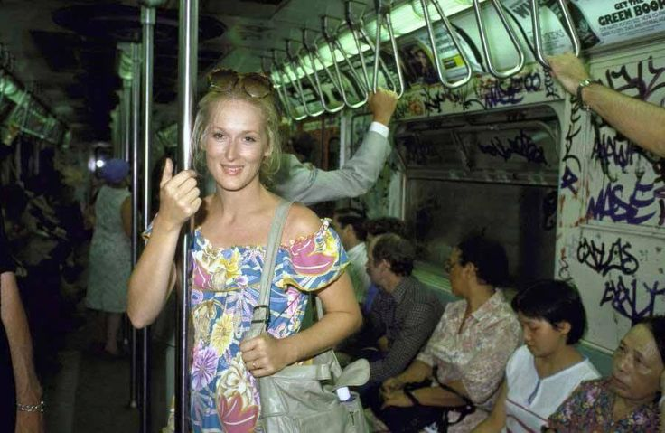 "MERYL STREEP  at a New York subway on her way home from an audition for King Kong where she was told she was too ""ugly"" for the part. The part went to Jessica Lange eventually. This was a pivotal moment for the young actress. This one rogue opinion could derail her dreams of becoming an actress or force her to pull herself up by the boot straps and believe in herself. She took a deep breath and said ""I'm sorry you think I'm too ugly for your film but you'r..."