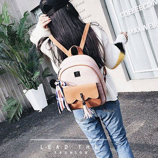 Retro Tassel Splicing School Backpack  Contrast Color Frosted Girl's Backpack