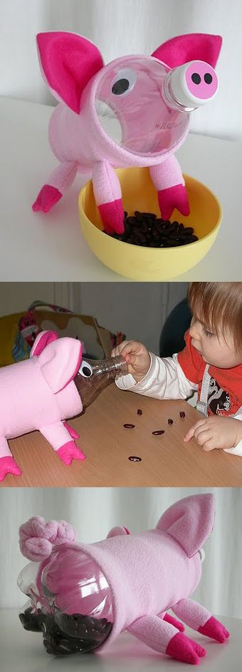 DIY development toy for baby - feed the piglet