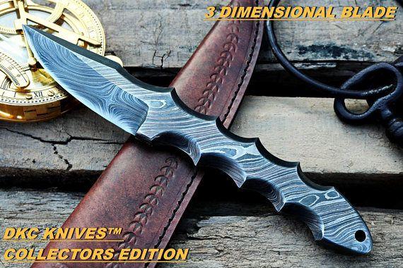 DKC-80-D TITAN Damascus Bowie Hunting Handmade Knife Fixed Blade 14.9 oz 9.5