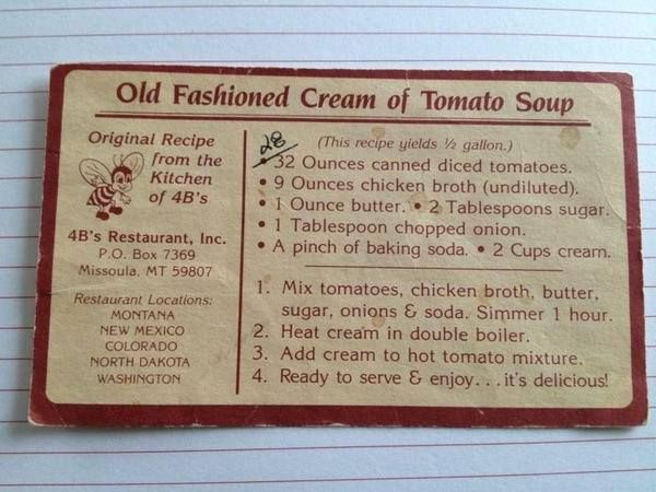 4B's House Recipe for Tomato Soup - The Foods of the World Forum