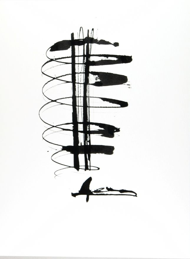 """""""Composition"""" (2010) Black & White - #Ink only on aquarelle paper by Petros Devolis - 24 x 31,9 cm (9.45 x 12.56 in)"""