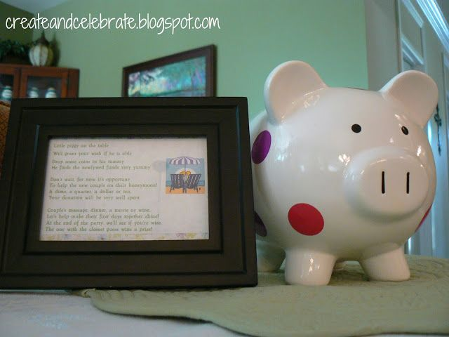 Bridal Shower - Activity Idea: Guests are encouraged to drop spare change into the Honeymoon pig. At the end of the Shower, guests guess how much is in the pig...the guest closest wins a door prize