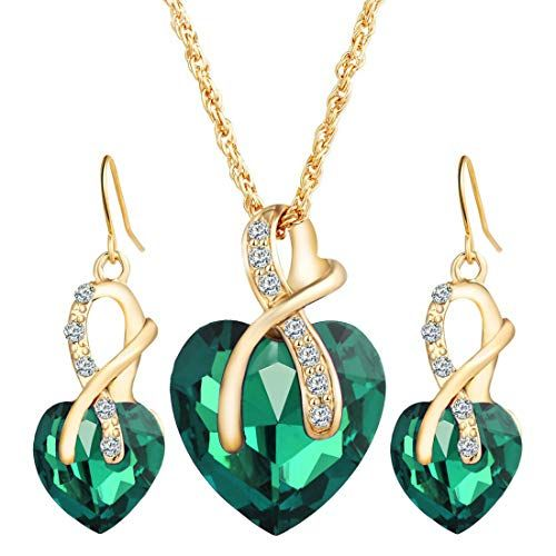 JOXJOZ Women's Elegant Crystal Pendant Gold Plated Chain Necklace Earring Jewelry Set