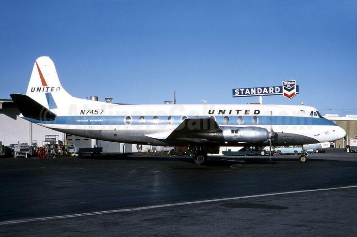 United Airlines Vickers Viscount 745D N7457