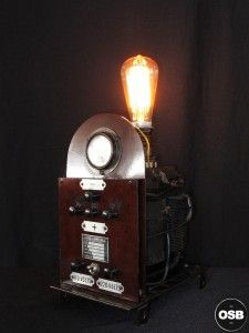 Lampe Tractor creation piece ancienne electrique industriel 3