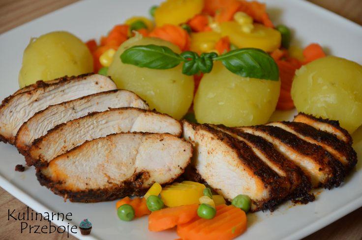 dietetyczny obiad pierś pieczona kurczaka