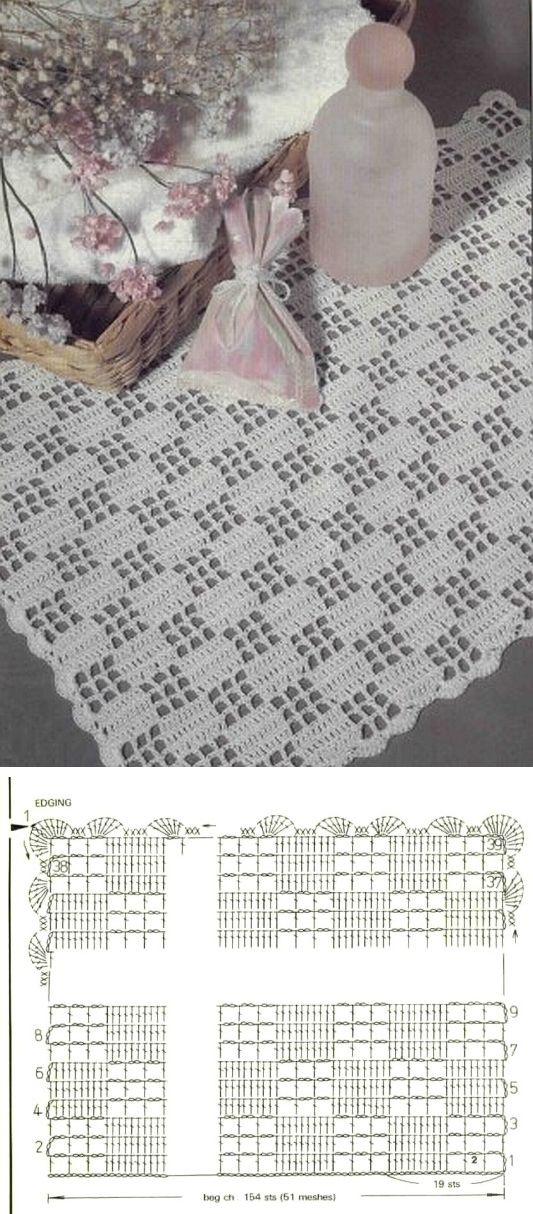 Little checks doily - great beginner's introduction to filet crochet. Simplest pattern repeat of 19 stitches, 39 rows. Use the scallop edging given or pick a different one. . . . . ღTrish W ~ http://www.pinterest.com/trishw/ . . . .