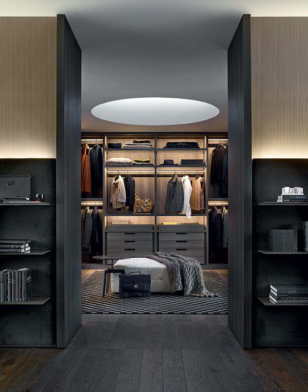 Senzafine walk-in closet in cenere oak melamine. Learn more: http://www.closetfactory.com/custom-closets/