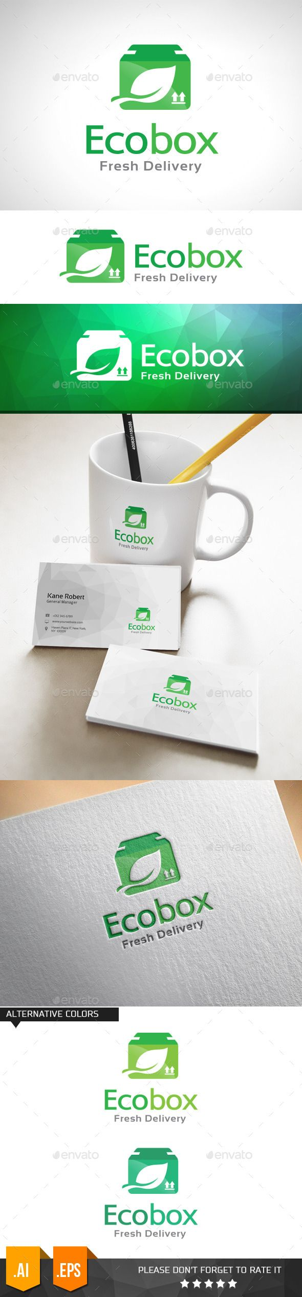 Eco Box Fresh Delivery Logo Template - Objects Logo Templates