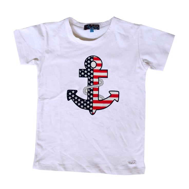 Camiseta manga corta ancla marino