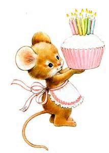 muisje met verjaardagstaart