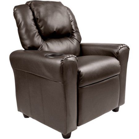 Flash Furniture Kids' Vinyl Recliner with Cupholder and Headrest, Multiple Colors - Walmart.com Would probably get brown bc he would want it in the living room by daddy's but the green one he would love!
