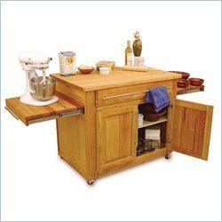 Catskill Craftsmen Empire Mobile Butcher Block Kitchen Cart in Natural Finish