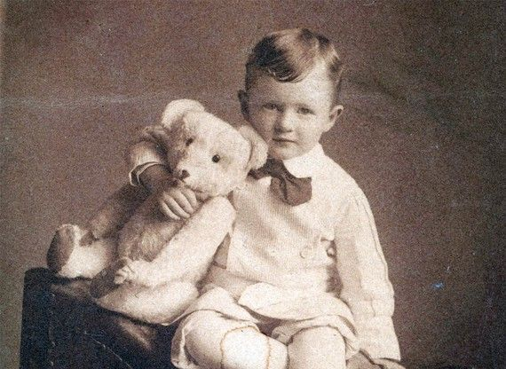 vintage photo Little Boy w Long nose Steiff Teddy Bear vintage photo: