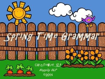 Time to enjoy the changing weather and growth of spring in your speech room with this grammar packet. Spring Time Grammar contains over 160 cards.  Irregular Past Tense Verbs: 48 Sentence Cards, 4 Garden Cards Third Person Present Tense Verbs: 24 cards Reflexive Pronouns: 4 Reflexive Pronoun List Cards, 32 Sentence Cards, 8 Special Cards Subjective Pronouns (He, She, They): 16 Cards Irregular Plurals: 40 cards