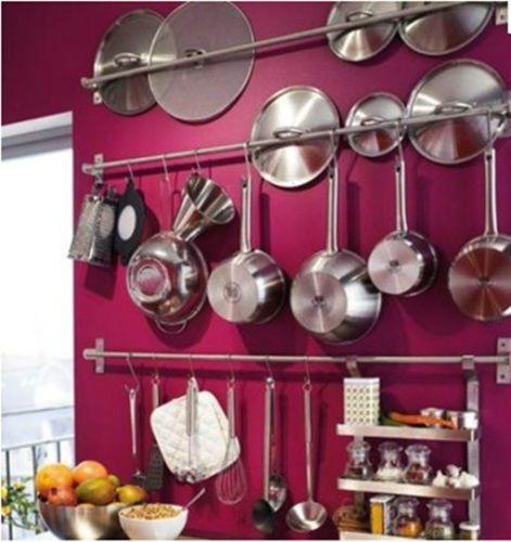 IKEA-shelf-rail-hook-31-kitchen-organizer-set-stainless-steel-holder-Grundtal