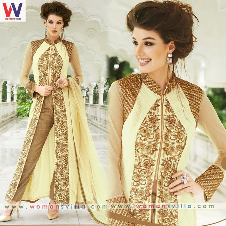 Enchanting Cream And Beige Colour Designer Salwar Suit #Womansvilla
