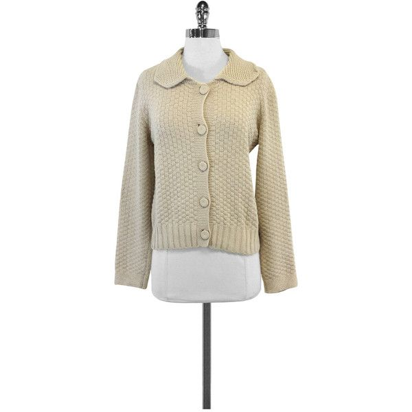 Pre-owned See by Chloe- Cream Wool Peter Pan Neck Cardigan Sz 10 ($95) ❤ liked on Polyvore featuring tops, cardigans, cream cardigan, cream long sleeve top, cream top, cardigan top and brown cardigan