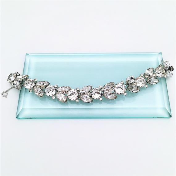 Signed Eisenberg Stylized Leaf Bracelet /& Clip-On Earring Set with Clear Rhinestones