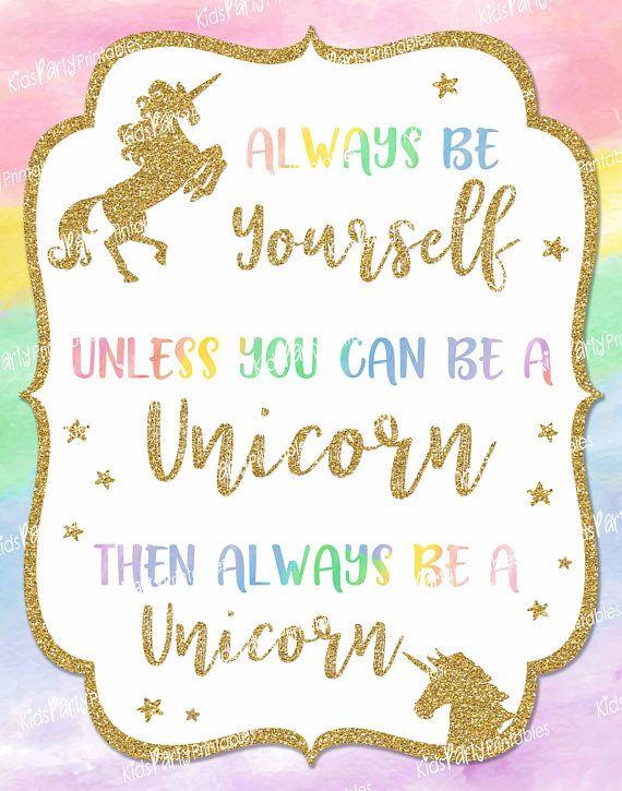 Unicorn Sign Instant Download Unicorn Party Birthday Decorations