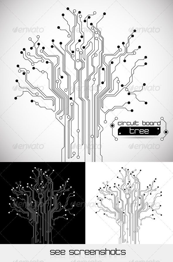 Circuit Board Tree - Abstract Background - GraphicRiver Item for Sale