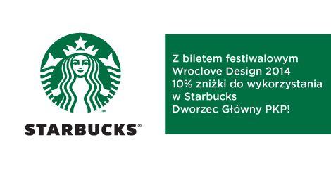 Mamy dla Was promocję! Z biletem festiwalowym 10% zniżki w Starbucks na Dworcu Głównym PKP w dniach 14-18 maja! #design #starbucks