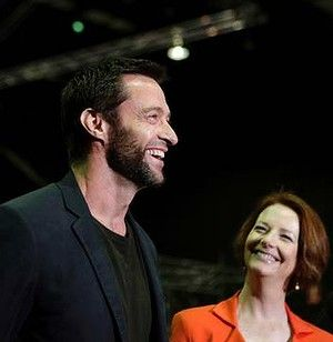 "Australian Prime Minister Julia #Gillard appears with Hugh Jackman at Fox Studios in #Sydney to promote the construction of ""The Wolverine"" movie set. Her government will help finance the flick by providing a one-time, federal grant to create jobs in #Australia 
