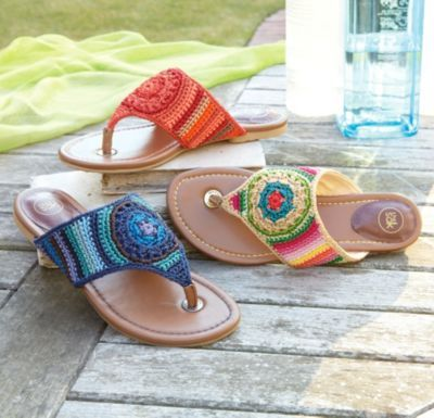 Shannon Sandal - Crochet Sandal, Woven Thong Sandal, Stylish Beach Sandal | Soft Surroundings
