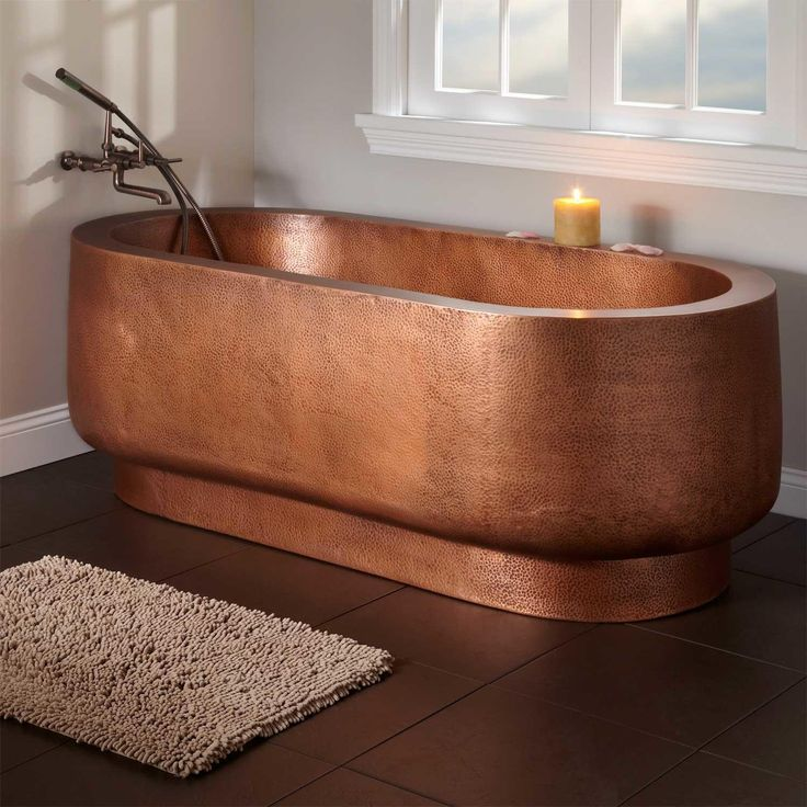 """72"""" Teshio Double-Wall Hammered Copper Tub - No Faucet Holes"""