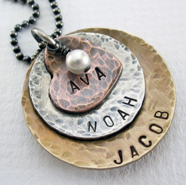 Mom Necklace - Personalized Jewerly - Mixed Metal - Sterling Silver - Copper - Brass - Hand Stamped Jewelry. $45.50, via Etsy.